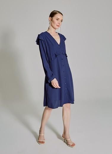 People By Fabrika Volan Detaylı Elbise Lacivert